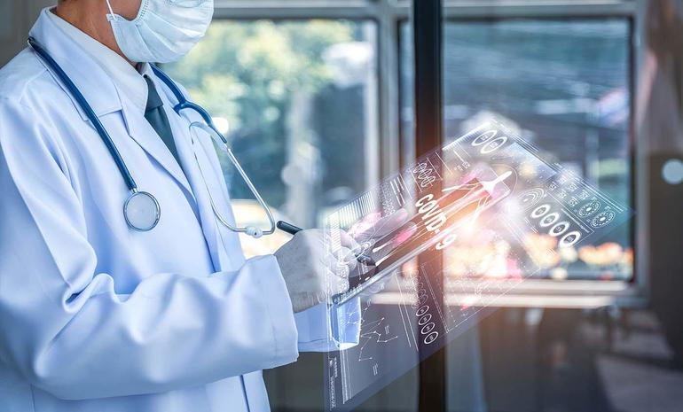 Doctor holding tablet with futuristic hud screen tablet. Covid-19, Bacteria, virus, microbe. Medical concept of the future.