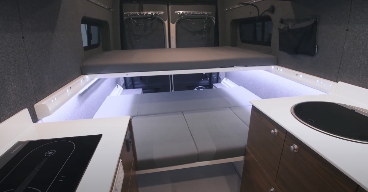 This three-person bunk bed layout + the two-person roof-top tent lets all five passengers sleep in the Kitsune