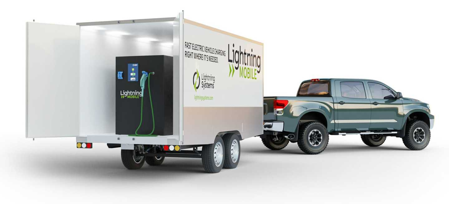 The Lightning Mobile electric vehicle charging system can be installed on a trailer, and comes with 192 kWh of battery storage