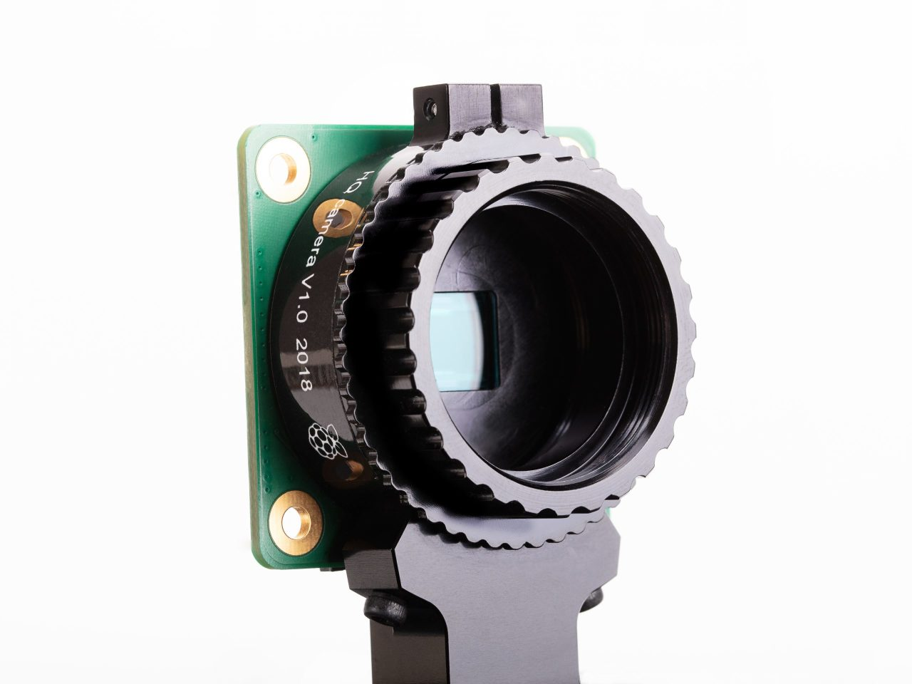 The Raspberry Pi High Quality Camera features a 12.3-MP sensor and interchangeable lens mount with back-focus adjustment
