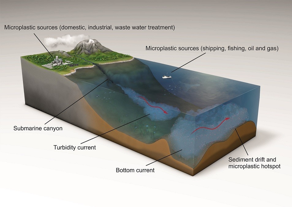 Scientists analyzing ocean currents and microplastic accumulation on the seafloor have gained new evidence of hotspots of pollution in the marine environment