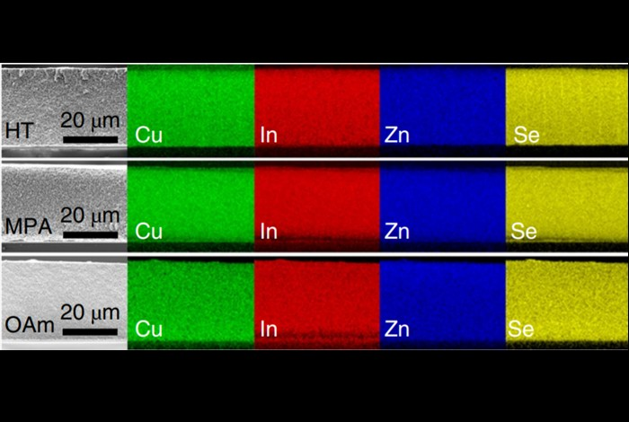 The new quantum dot electrodes and the corresponding spread of different elements in them