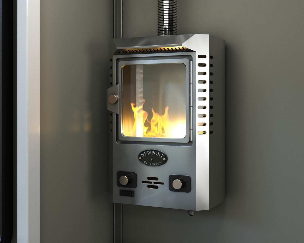 More than just a heater, the Dickinson Newport provides a small propane-fueled fire
