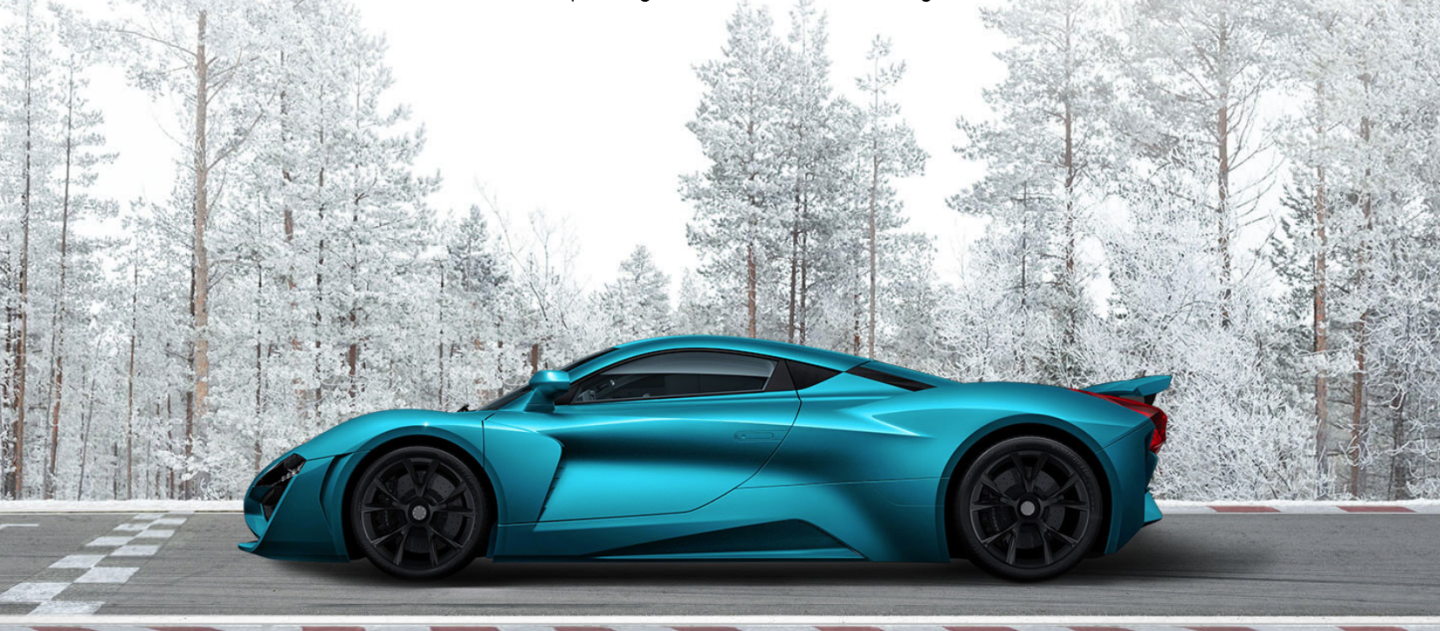 A profile and lurid color scheme that would be at home in any moving gaggle of hypercars