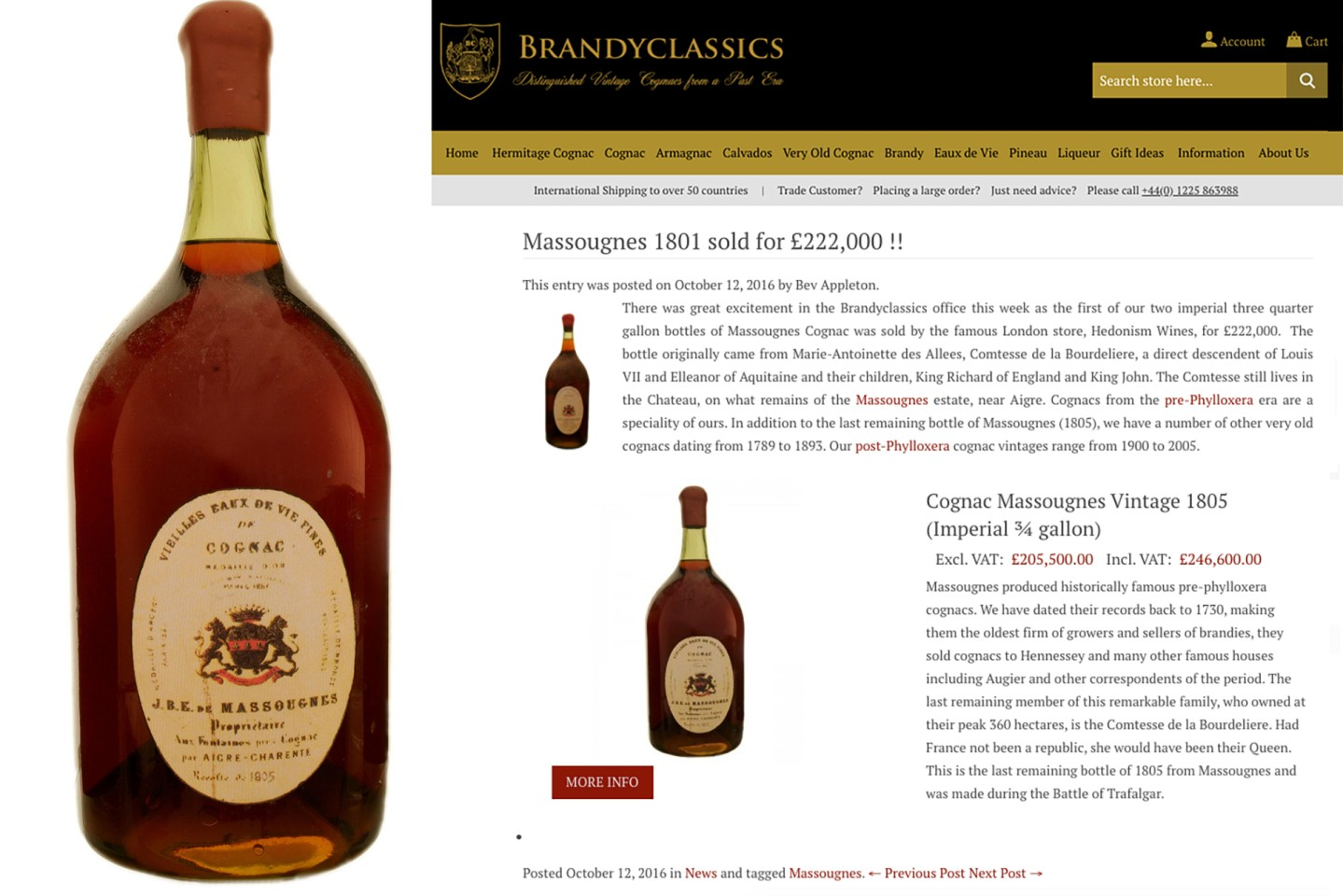 London's Hedonism Wines sold a bottle of 1801 Massougnes Cognac for GBP£222,000 ($270,761) in October 2016
