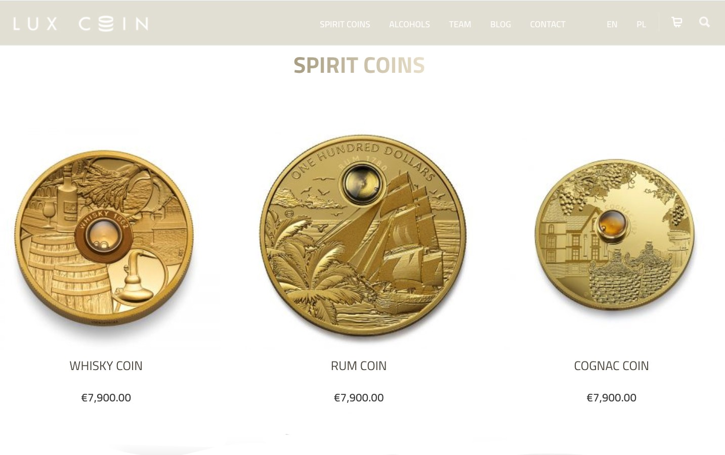 Lux Coin's Whisky Coin, Rum Coin, and the Cognac Coin.