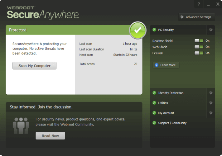 Webroot — Best Lightweight Antivirus