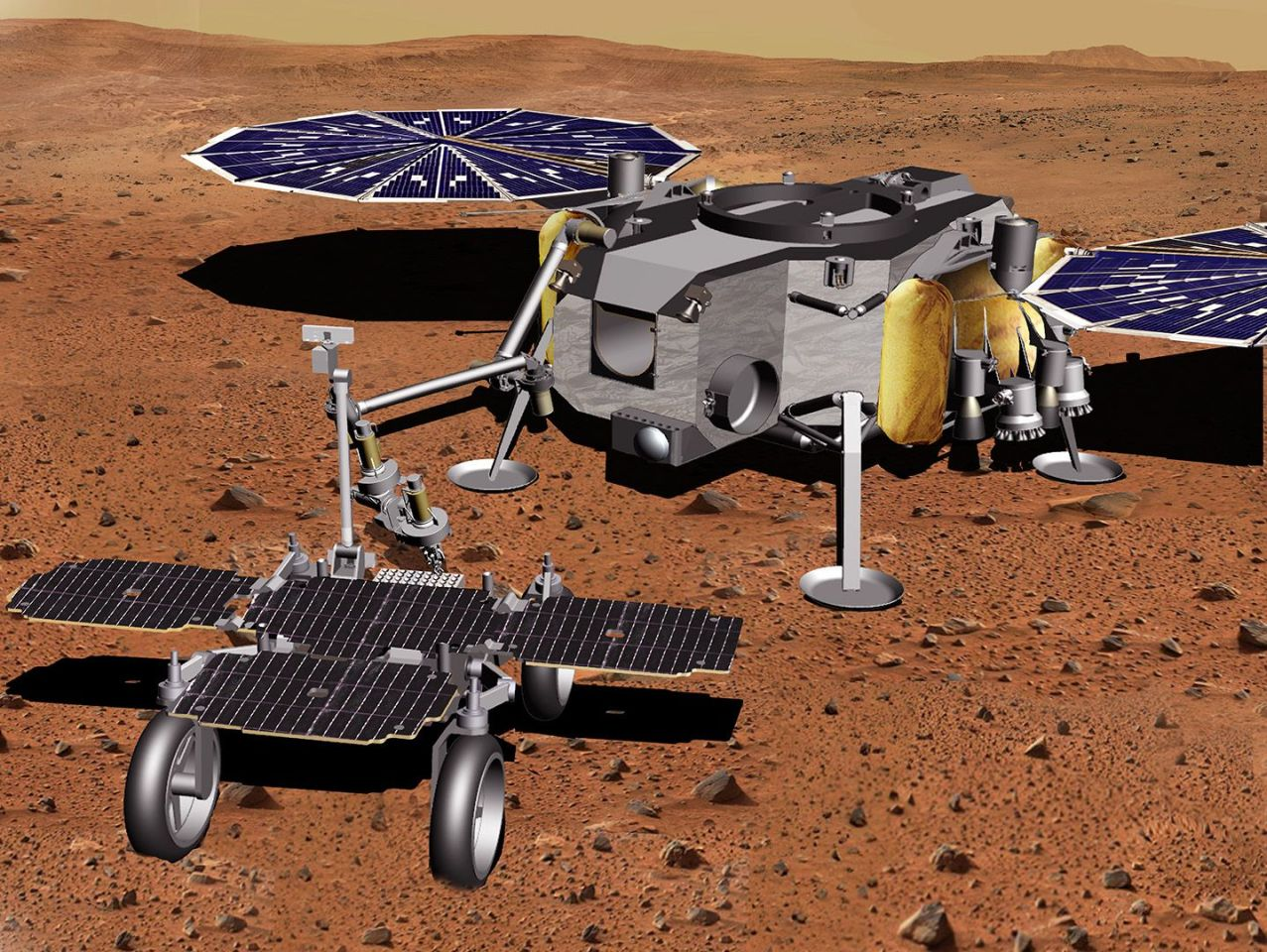 Artist's concept of the Sample Fetch Rover and the NASA Mars lander