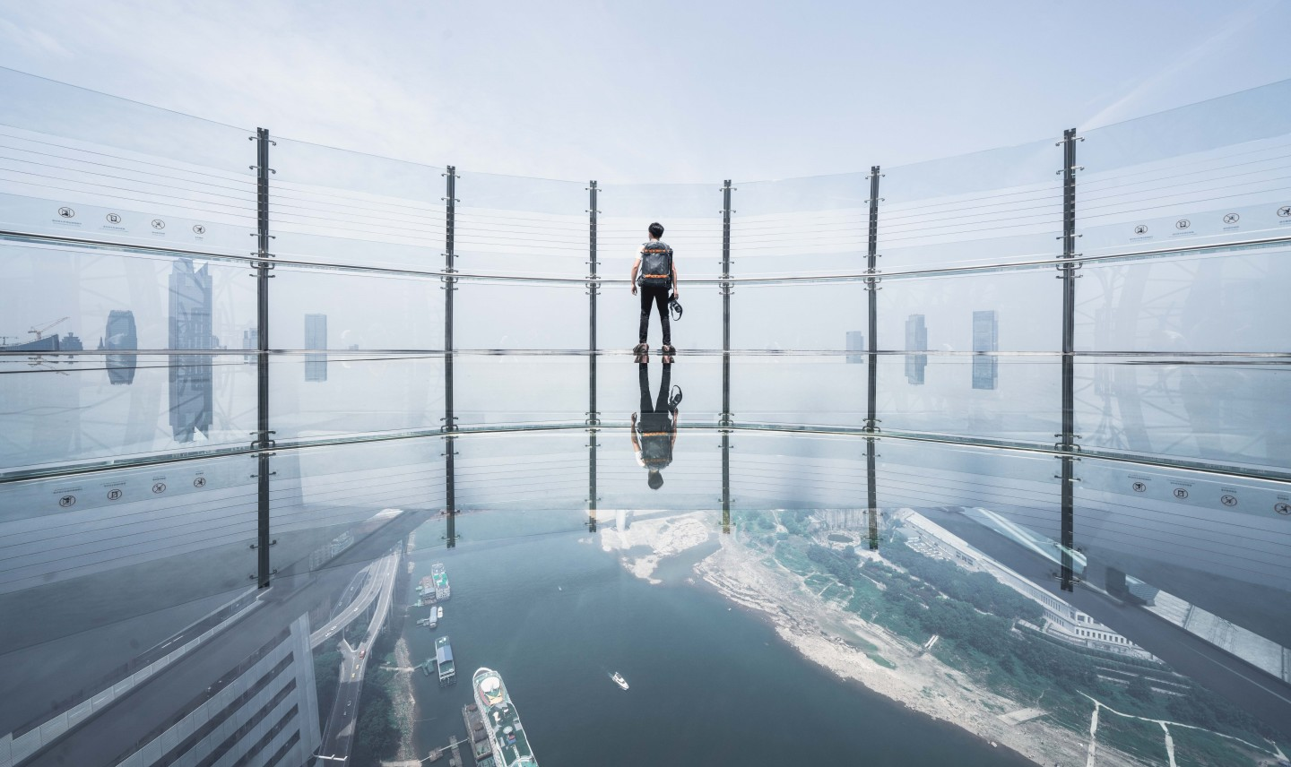 The Crystal's glass-bottomed observation deck offers views of Chongqing and of the Yangtze and Jailing rivers meeting