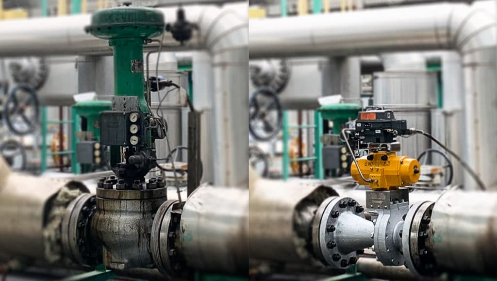 The globe valve (left) was replaced by the Shutter Valve (right).
