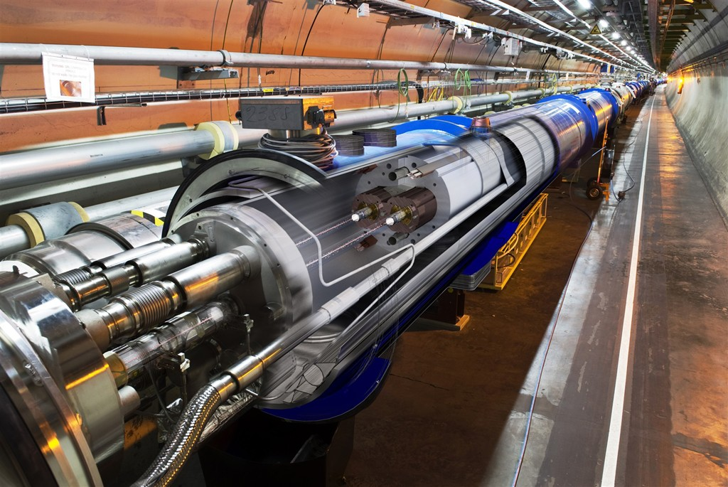 A 3D render of the Large Hadron Collider