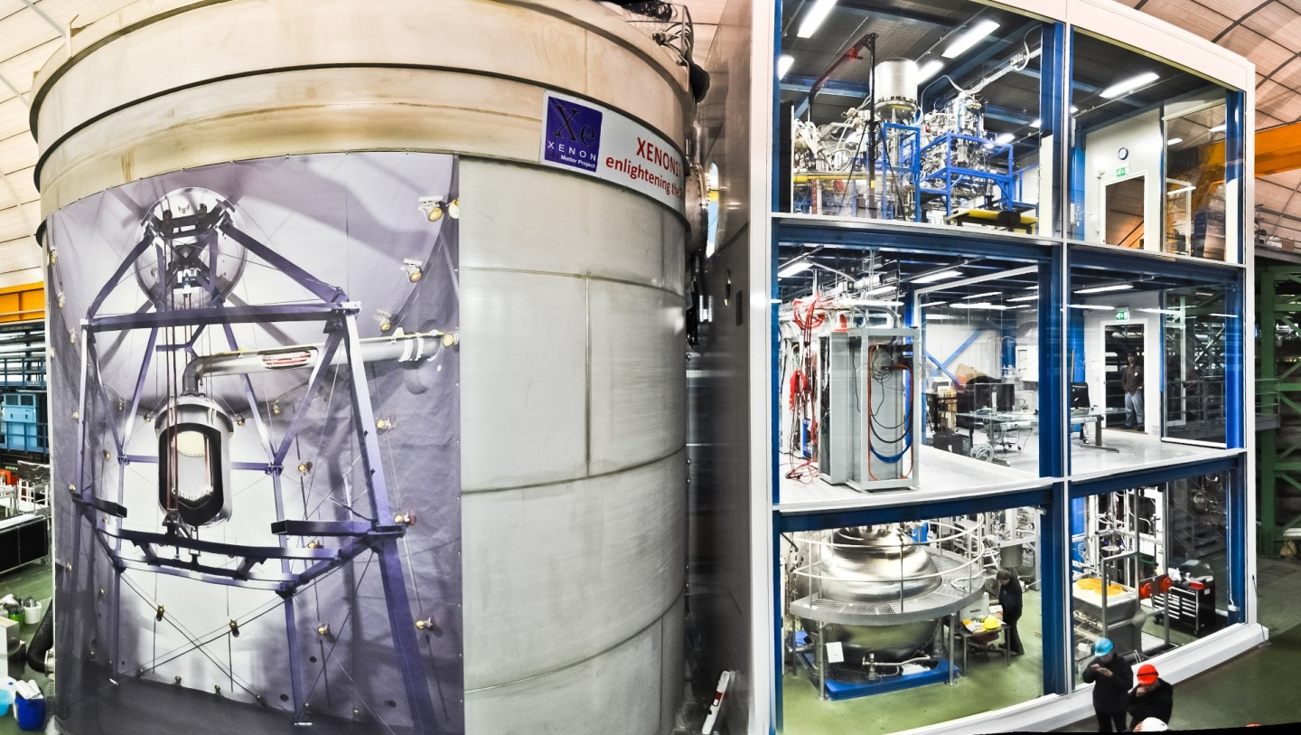 The XENON1T facility, on the left is the water tank containing the instrument itself, with a poster showing what's inside – on the right is the three-story service building