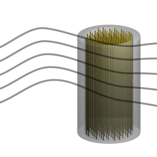 An illustration of the axion radio design, with the axions (wavy lines) passing through