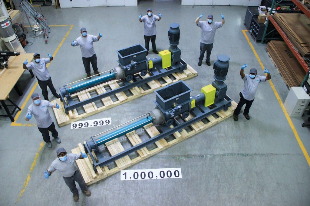 NETZSCH ships its 1,000,000th pump: NEMO® progressing cavity pump with hopper and integrated aBP® module.