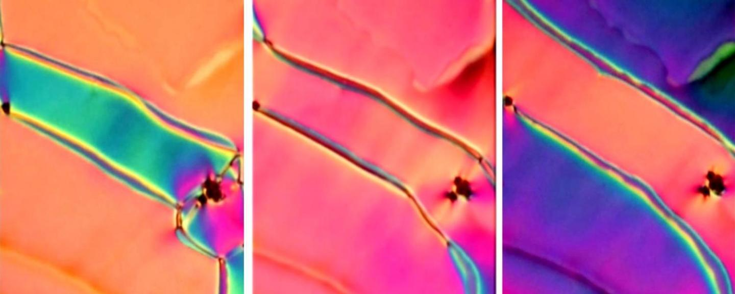 Colors in a newly discovered phase of liquid crystal shift as a small electric field is applied