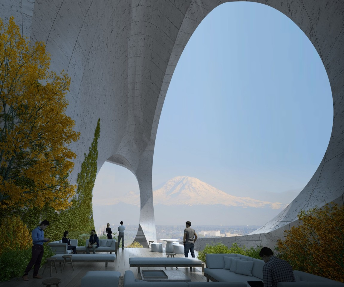 Seattle Tower's pocket park at its center would offer views of Seattle's Mount Rainier and include trees and other greenery