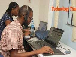 Technology Times photo file showing people working on PCs at the iDEA Hub in Yaba, Lagos