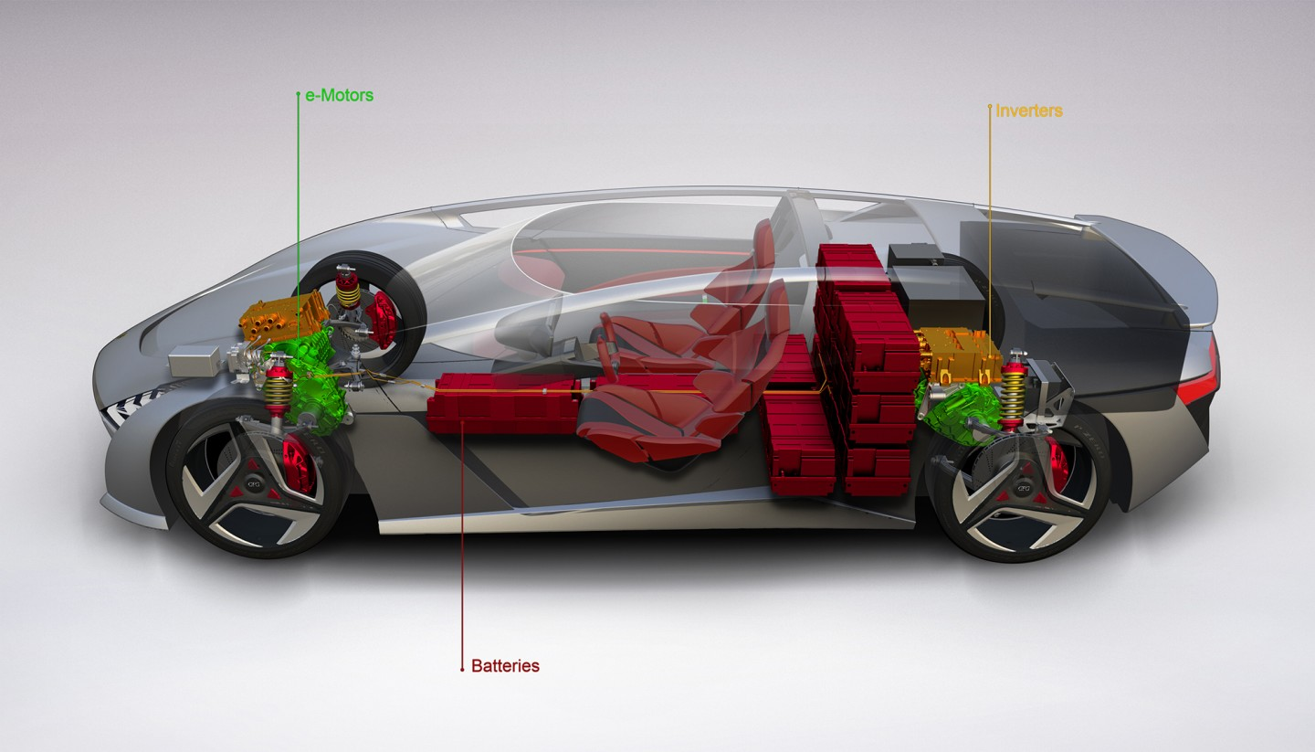 An unusual battery arrangement places much of the weight behind the seats