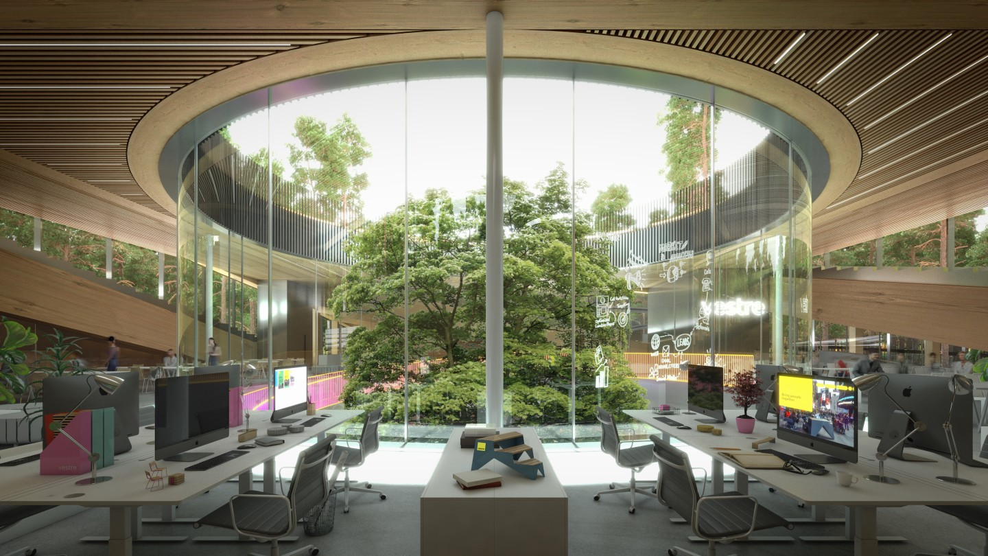 The central hub of The Plus will feature a circular courtyard filled with trees in which Vestre's latest outdoor furniture collections will be exhibited