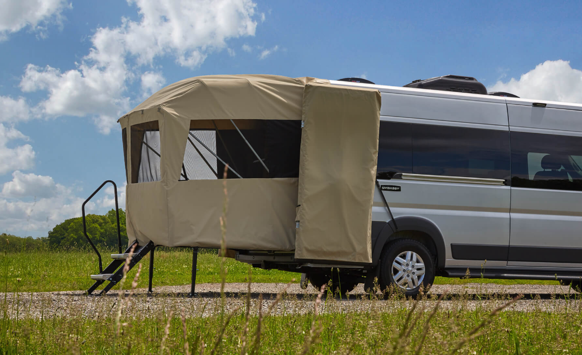 Shown here on Embassy's Ram Promaster-based Traveler PRL model, the rear deck is also available on the Traveler Sport