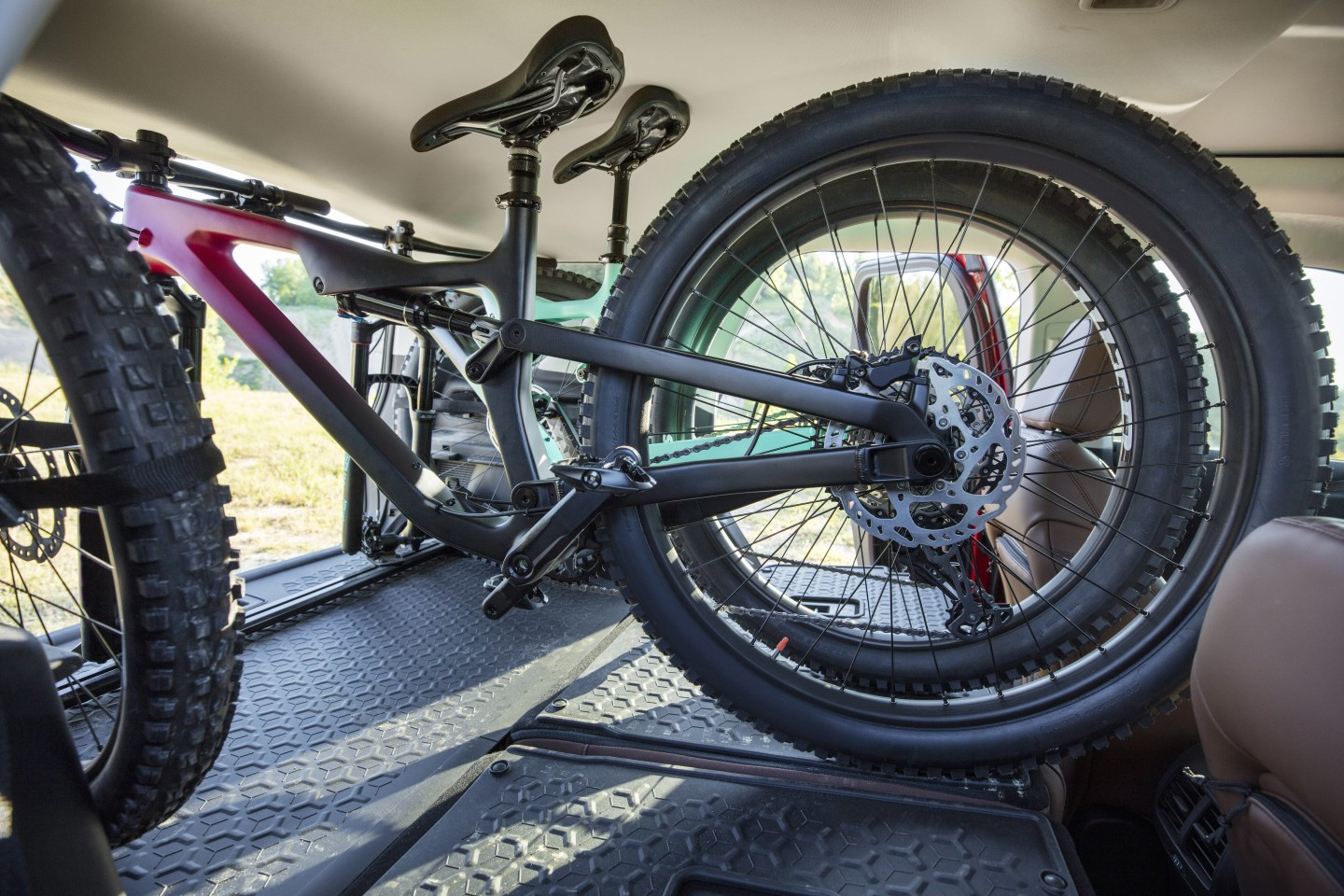 The cargo area in the Ford Bronco Sport can stow two mountain bikes inside the vehicle