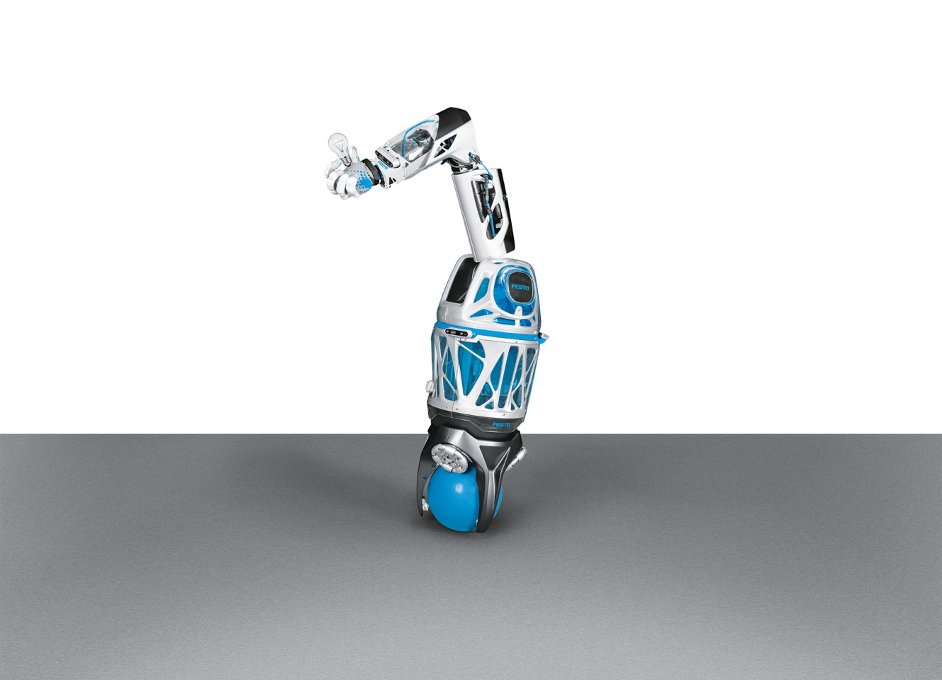 The modular BionicMobileAssistant is made up of a ballbot base, lightweight robot arm, and the BionicSoftHand 2.0 module