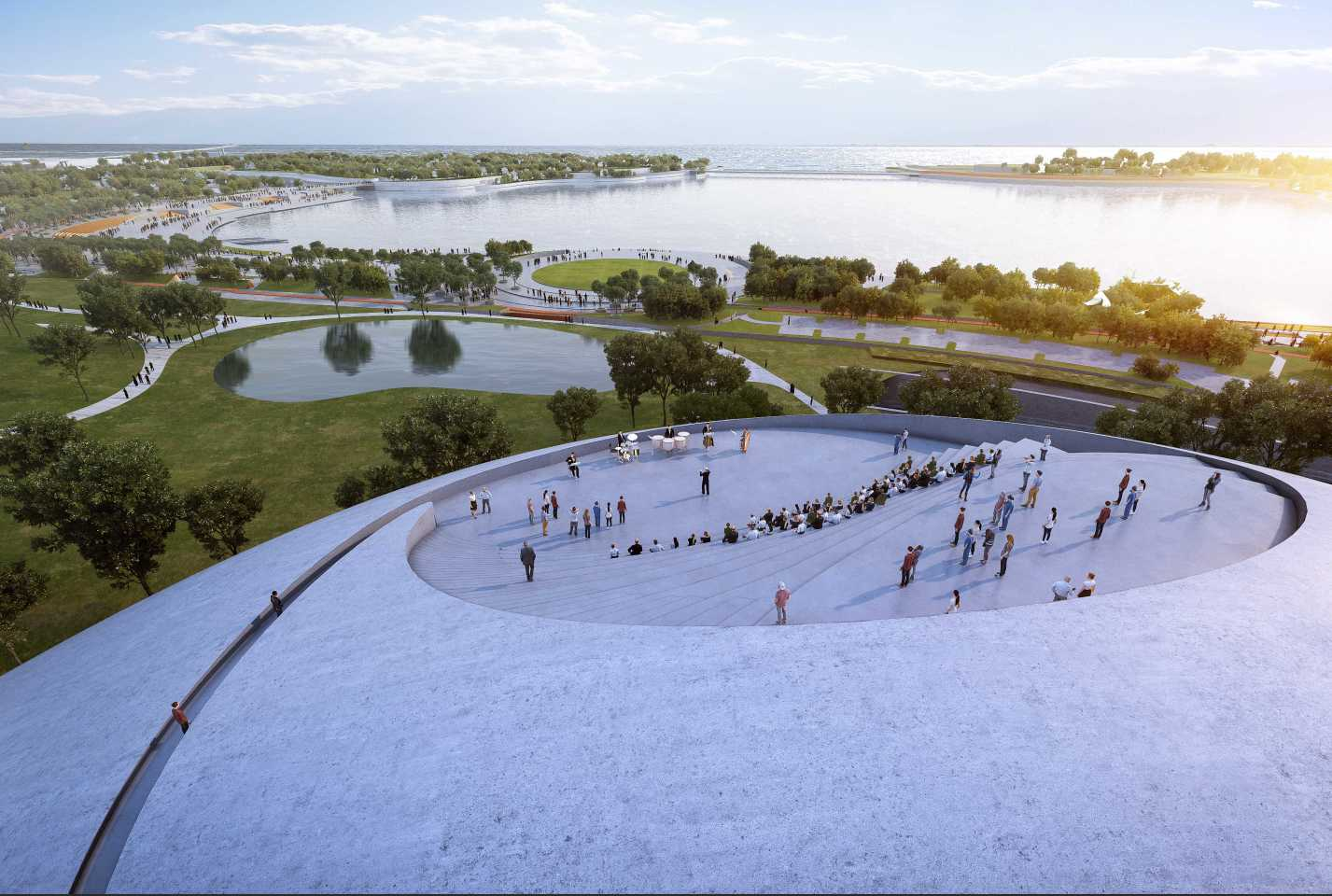 The Shenzhen Bay Culture Park will include a viewing platform overlooking Shenzhen Bay and the city's skyline