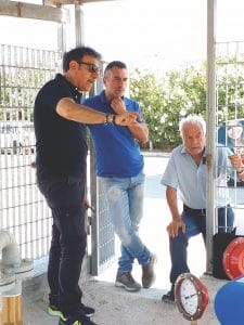 The teamwork between Giorgio Gotta, left, General Manager of Ebsray distributor GasTech Services, and Graziano, center, and Luigi Pastore of site designer G.P., has resulted in a truly unique Autogas-dispensing solution.