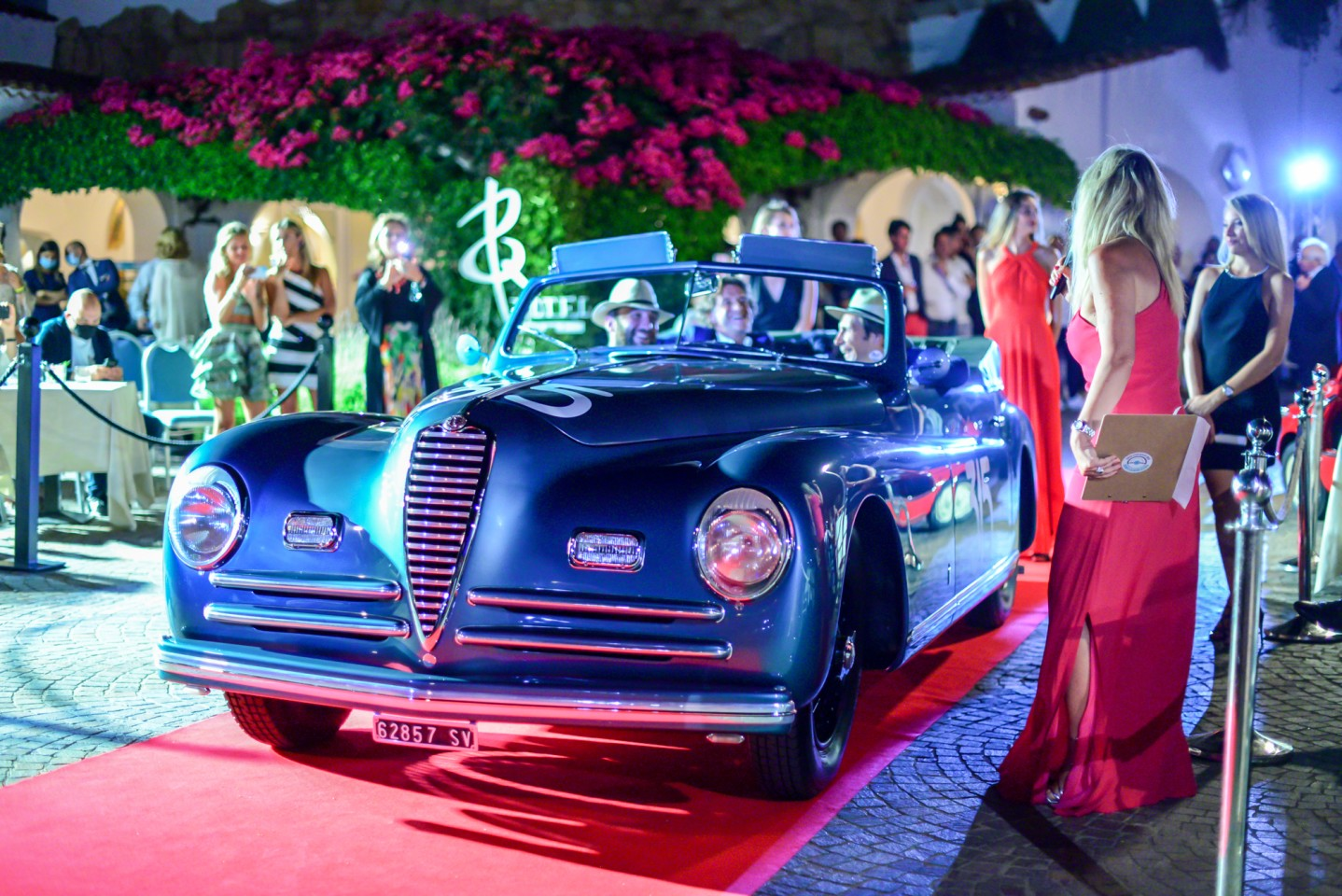 "The winner of the ""Cars from the Mille Miglia"" Class, the 1947 Alfa Romeo 6C 2500 Cabriolet Pininfarina of Mattia Colpani. This car competed in the 1949 Mille Miglia, and had there been an award for the most laughter and fun per mile in the tour, it would probably have won that too!"