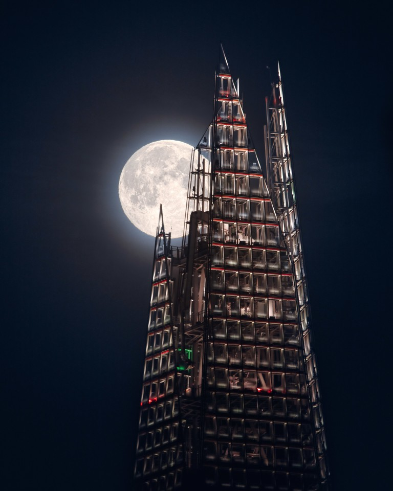 Our Moon. 'The Moon And the Shard'. After three failed attempts, the photographer finally got to shoot an image of London's iconic Shard skyscraper with a full moon behind it