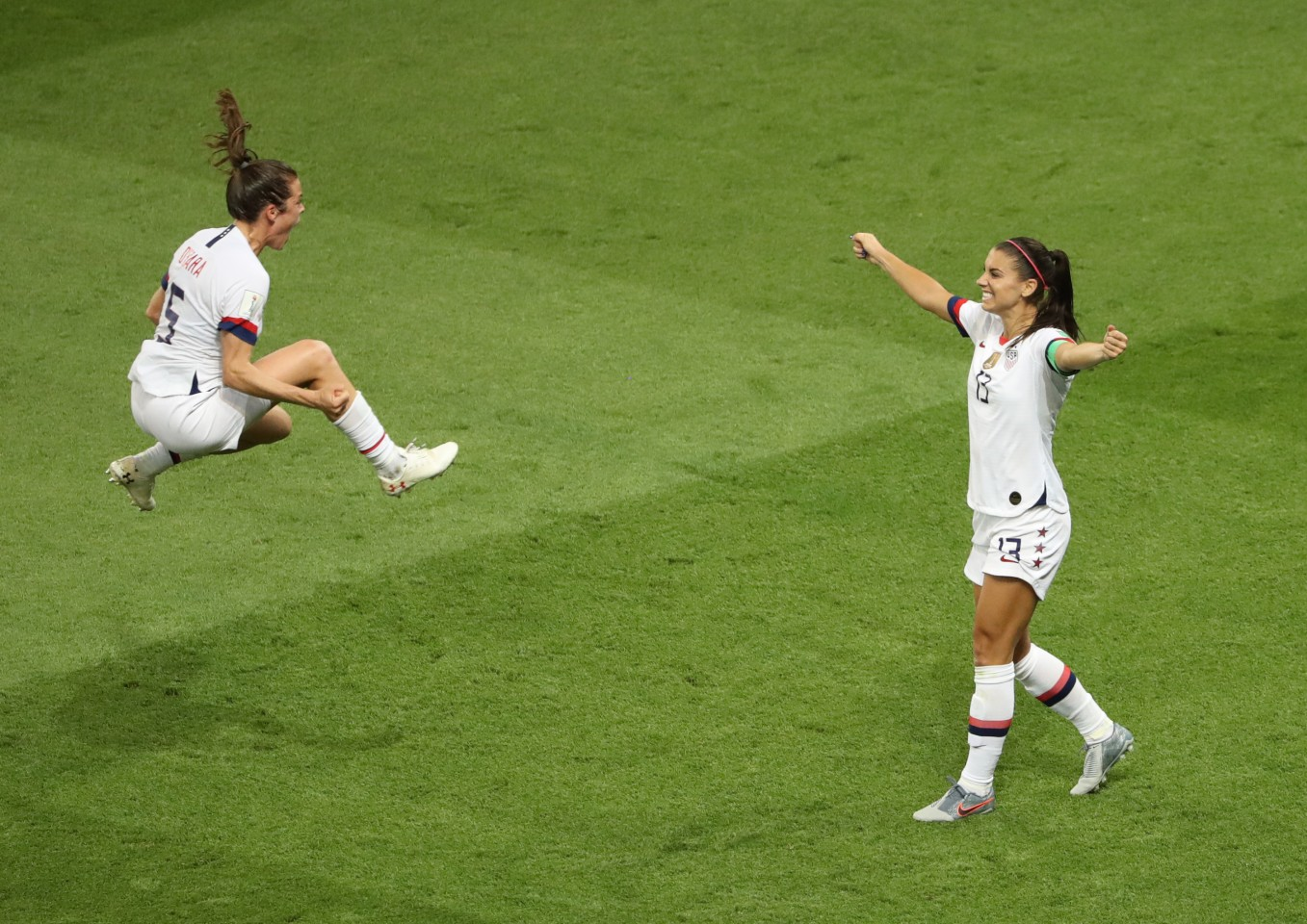 Gold, Celebration. The 2019 FIFA Women's World Cup France Quarter Final match between France and USA at Parc des Princes on June 28, 2019 in Paris, France