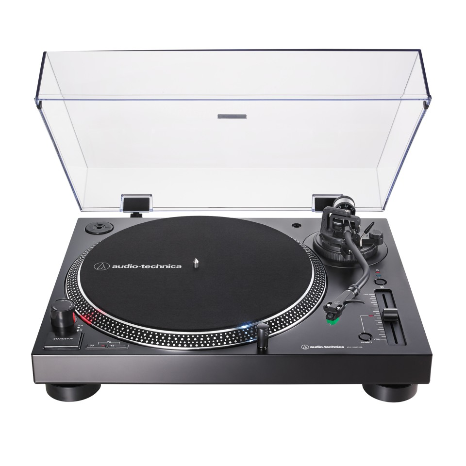 The 120XBT-USB turntable rocks a Technics vibe, and allows listeners to go cabled or wire-free