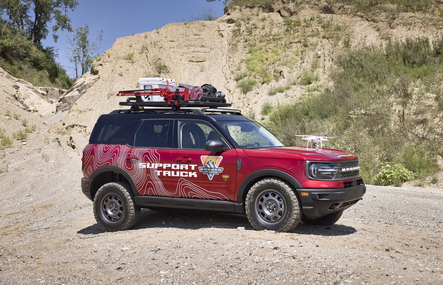 A concept with a mission, the Bronco Sport Off-Roadeo Adventure Patrol is designed to provide support at Ford's series of Bronco Off-Roadeo customer events
