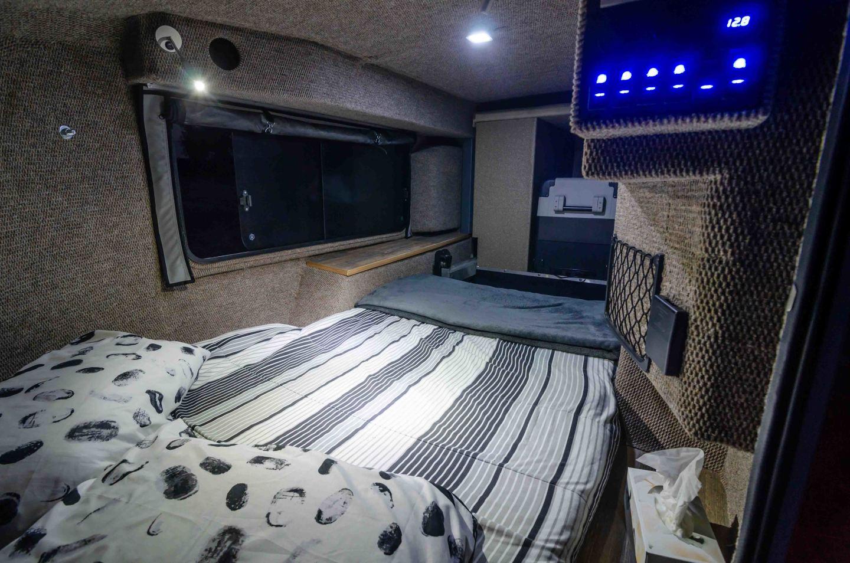 Inside the cozy two-sleeper cabin