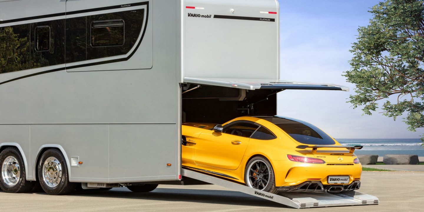 Forget towing: the rear garage of Variomobil and other top-end European luxury motorhomes is always an intriguing feature