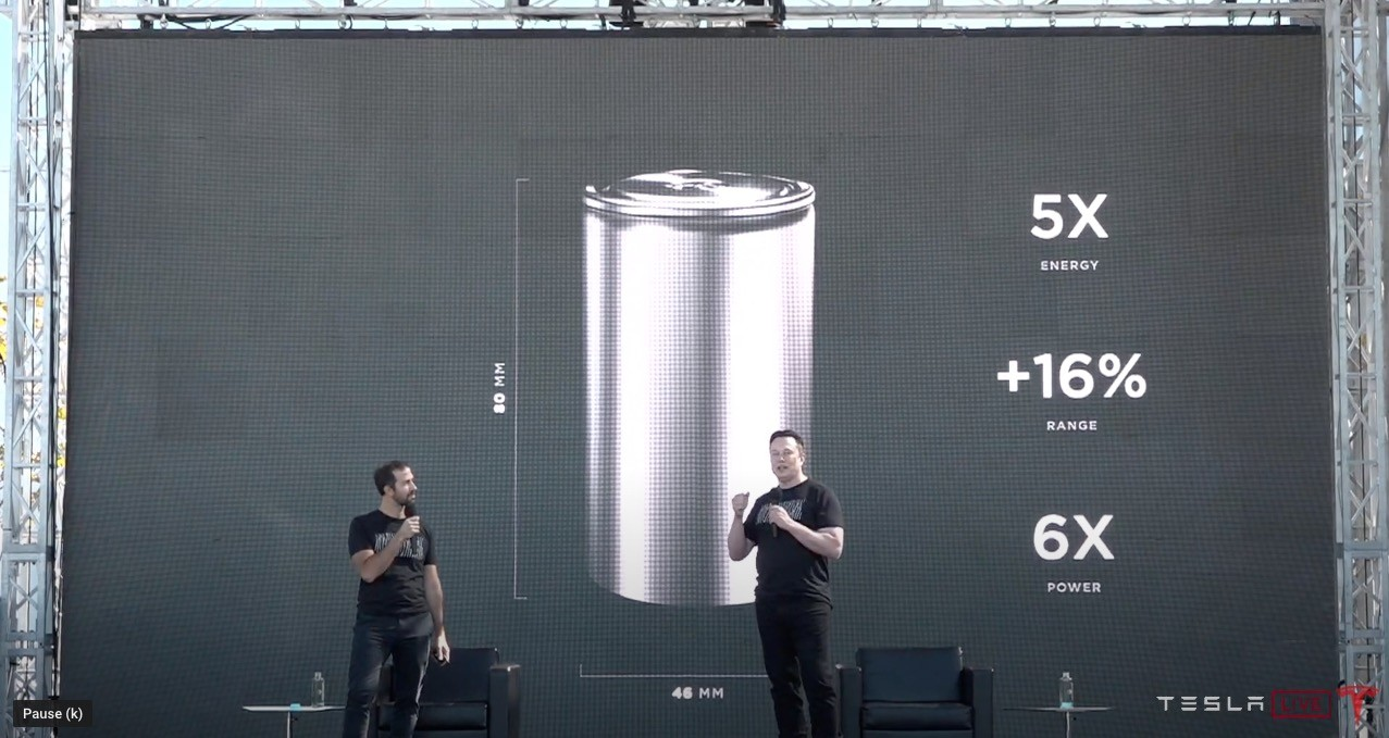 Tesla CEO Elon Musk discusses the new tabless battery architecture on stage with SVP of Powertrain and Energy Engineering Drew Baglino