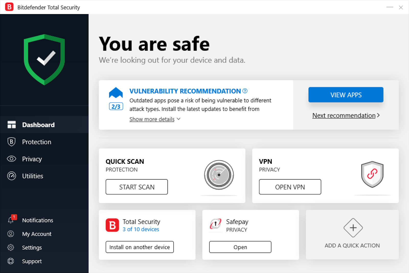 🥈2. Bitdefender — High-Performance VPN with Strong Antivirus Protection