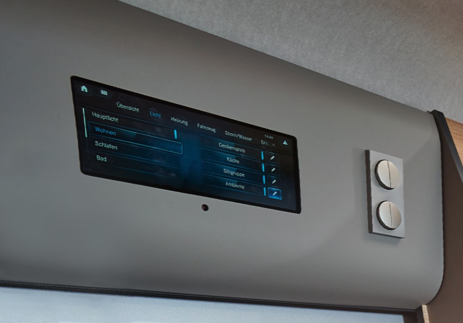 The MBAC command touchscreen provides central control of important onboard functions and can also connect with a smartphone for remote control around the van
