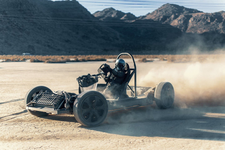 Sara Price paddles the unique Canoo around the desert