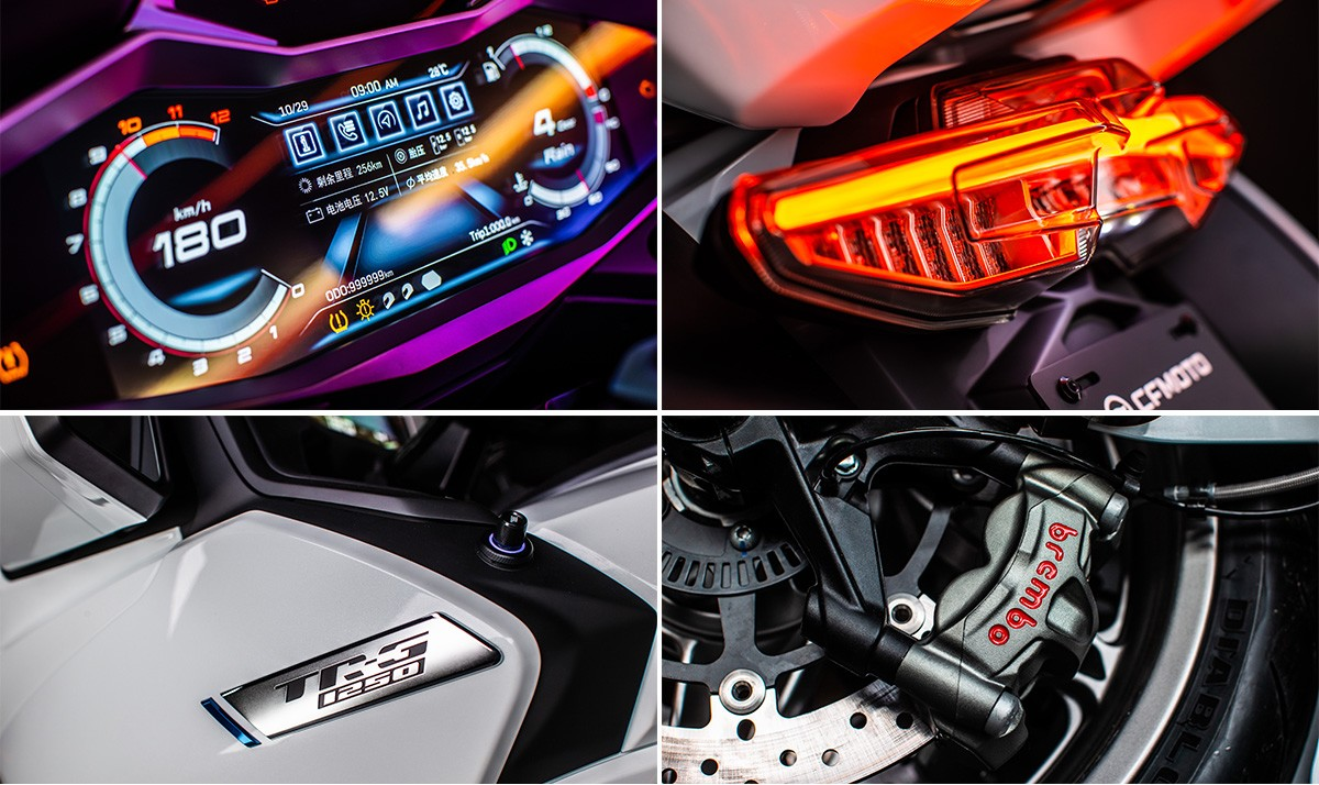 A massive digital dash, and radial Brembo ABS brakes, round out a quality component list