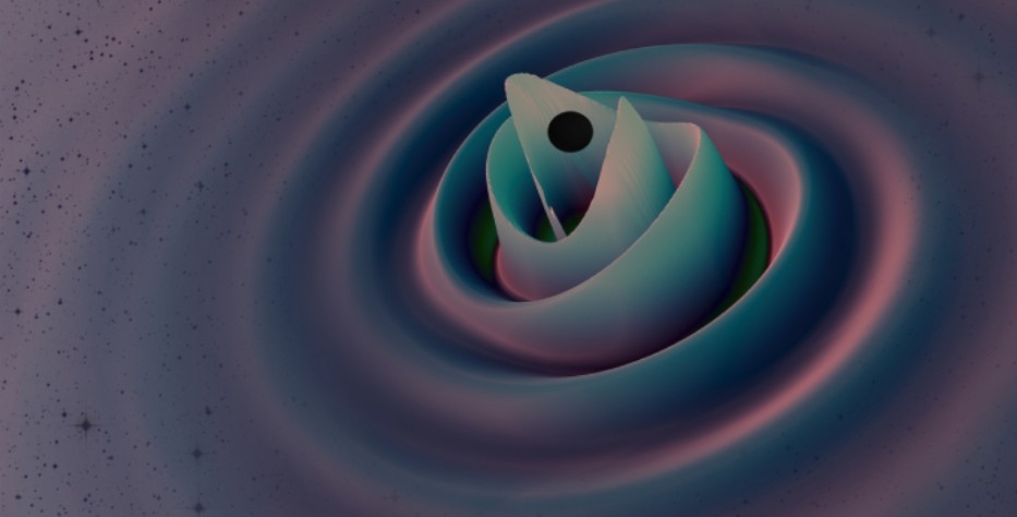 A still from a simulation of the gigantic new gravitational wave signal, created by a collision between the most massive black holes ever detected by LIGO