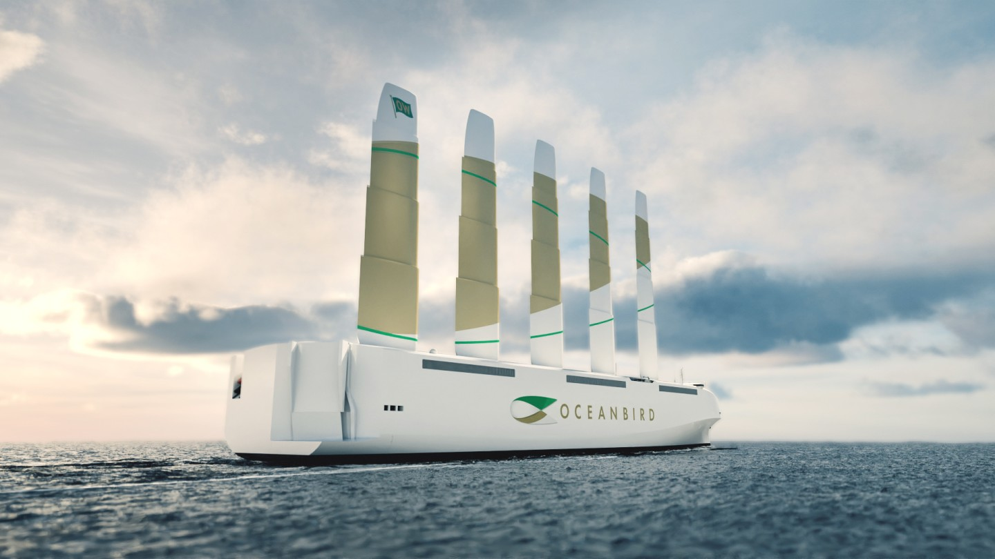 The Oceanbird promises to use its five giant 80-meter retractable wingsails to reduce cargo shipping emissions by as much as 90 percent