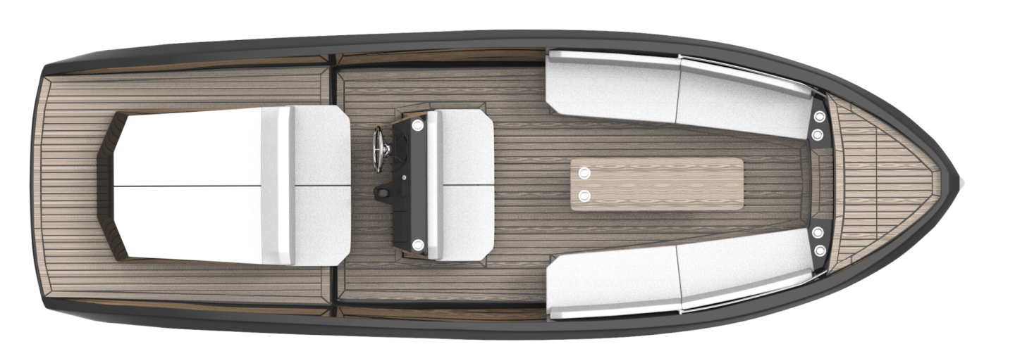 The deck layout of the Mana 23 electric day cruiser