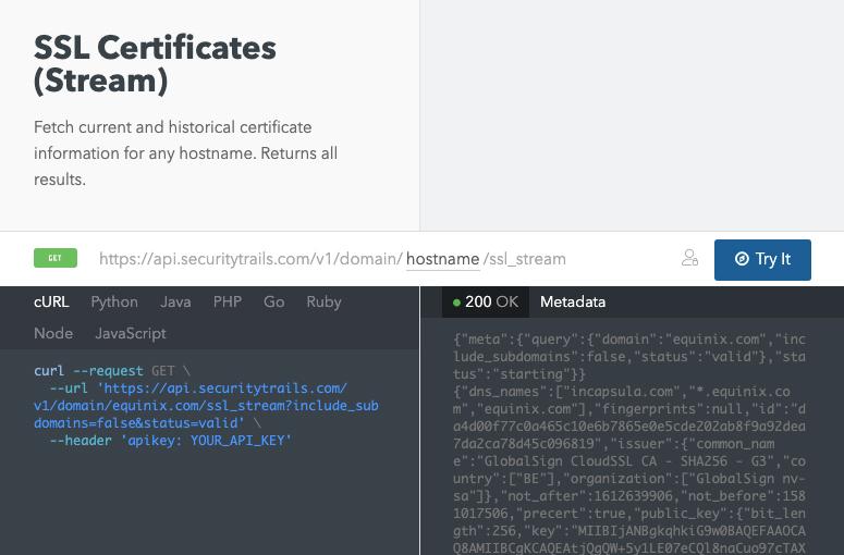 SSL certificates stream