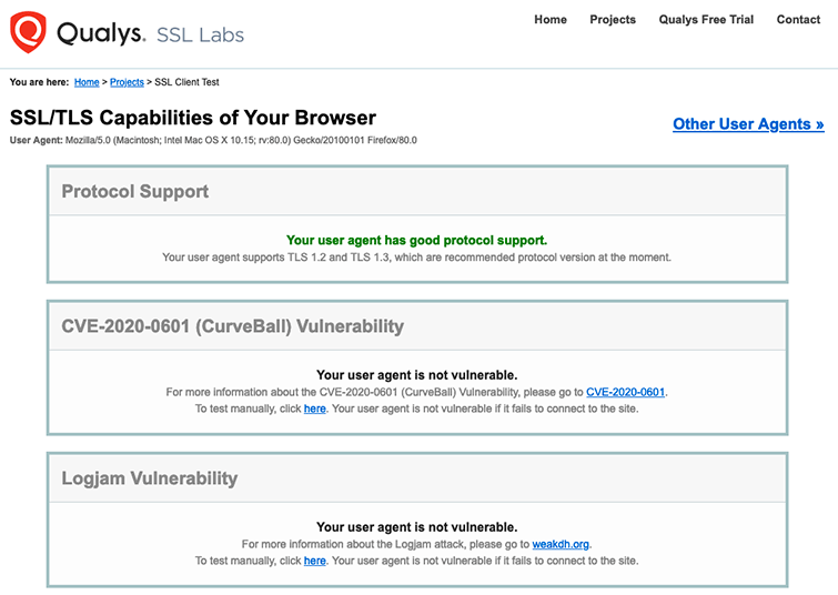 Checking web browsers for weak ciphers