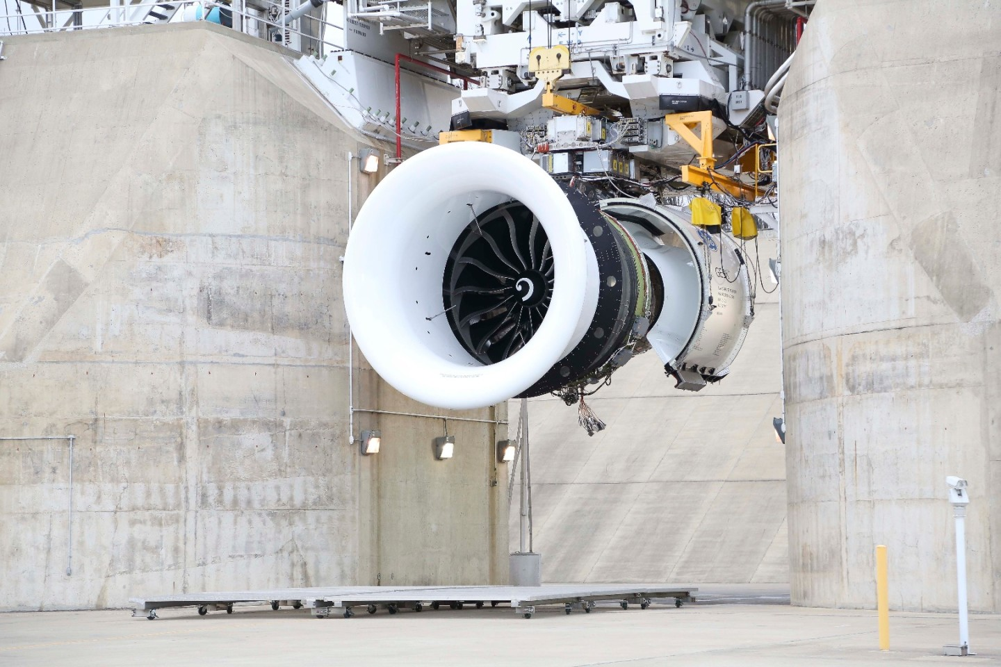 The GE9X in the test rig at GE Aviation testing facility