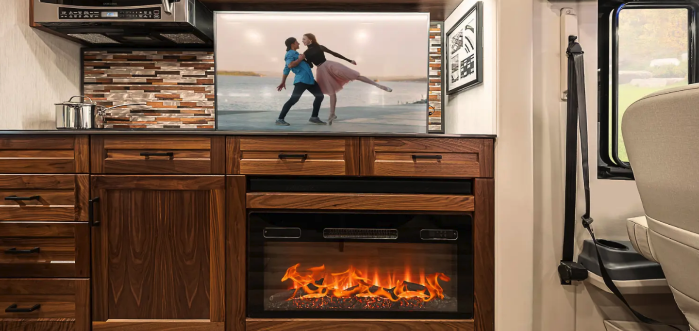 Watch the pop-up 50-in TV, electric fire or both