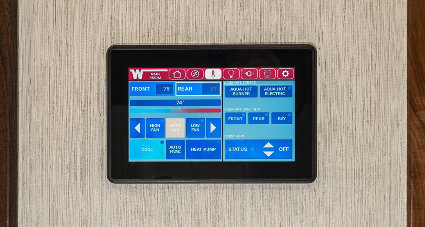 The Winnebago Connect smart control system works on the touchscreen or via mobile app