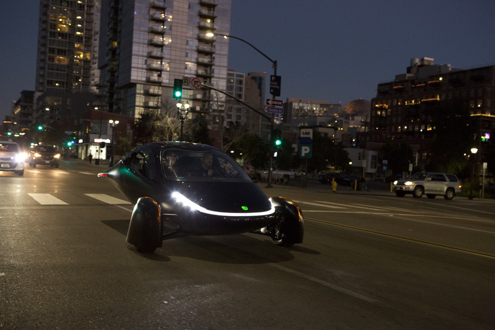 The Aptera prototype hits the streets... At night. When there's no sun. We suspect this prototype doesn't have the solar panels on it