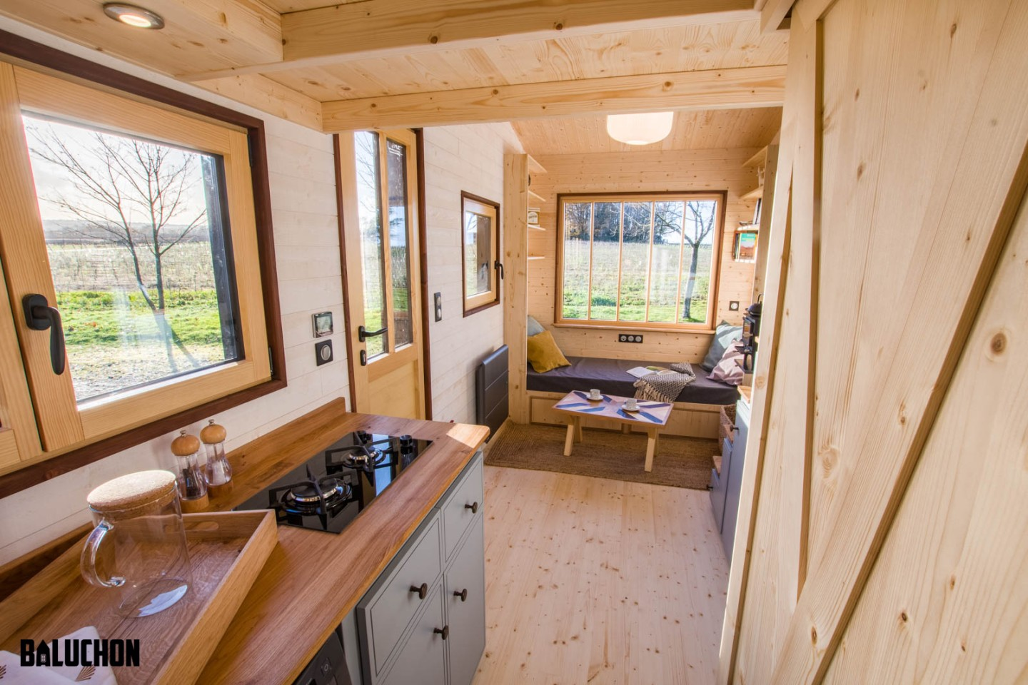 Tiny House Nottingham's interior is finished in a mixture of spruce and oak
